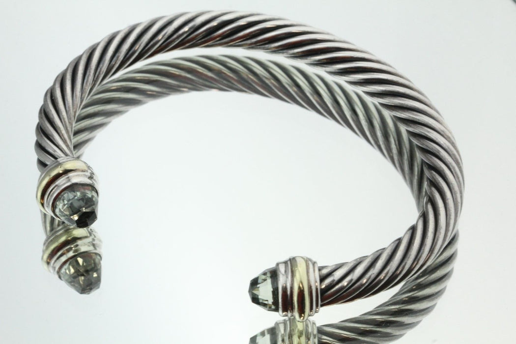 David Yurman Classic Cable with Prasiolite 14K Gold Sterling Bracelet - Queen May