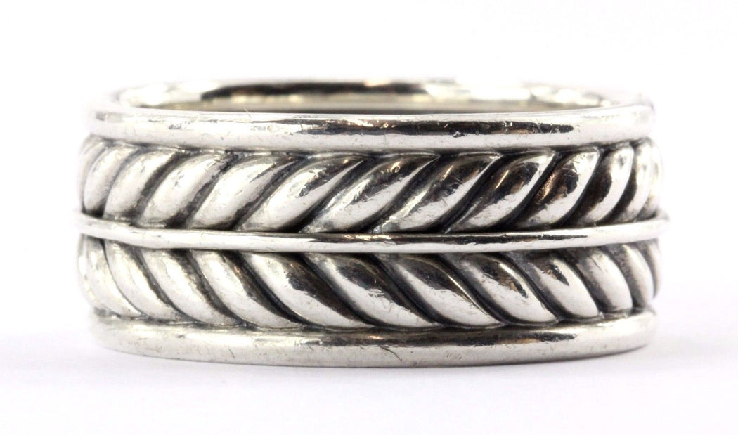 David Yurman Men's Chevron Band Ring Sterling Silver Size 11 - Queen May