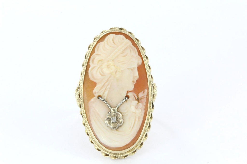 Antique 14K Gold Habille Diamond Cameo Carved Shell Ring Signed CS