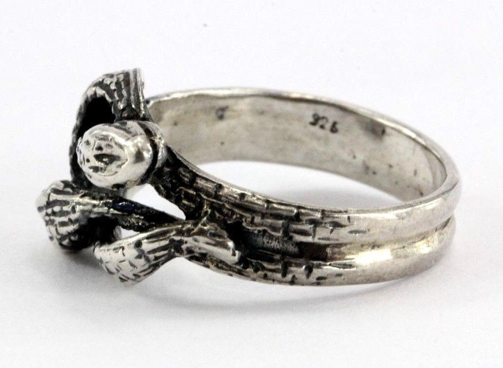 Vintage Sterling Silver Gothic Entwined Snakes Lovers Knot Ring - Queen May