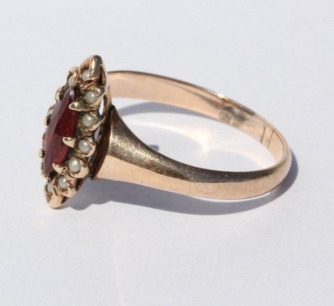 Antique Victorian 10K Gold Seed Pearl & Tourmaline Ring - Queen May