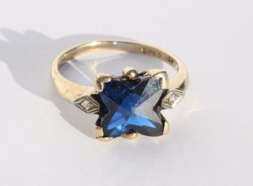 Antique 10K Gold Fancy Cut Electric Blue Spinel & Diamond Ring by Sacks & Perry - Queen May