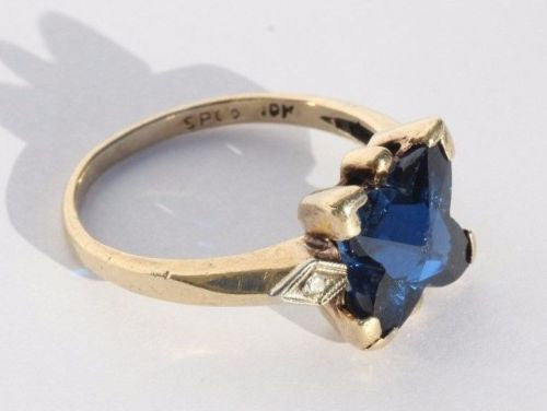 Antique 10K Gold Fancy Cut Electric Blue Spinel & Diamond Ring by Sacks & Perry