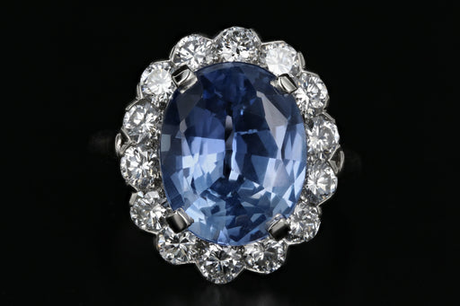 Platinum 7.04 Natural Cornflower Blue Sapphire and Diamond Ring AGL Certified