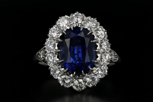 Platinum 4.09 Carat Natural Madagascar Royal Blue Sapphire and Diamond Ring GIA Certified - Queen May
