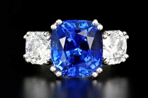 Modern Platinum 6.65 Carat Ceylon Sapphire and Octagonal Cut Diamond Three Stone Ring - Queen May