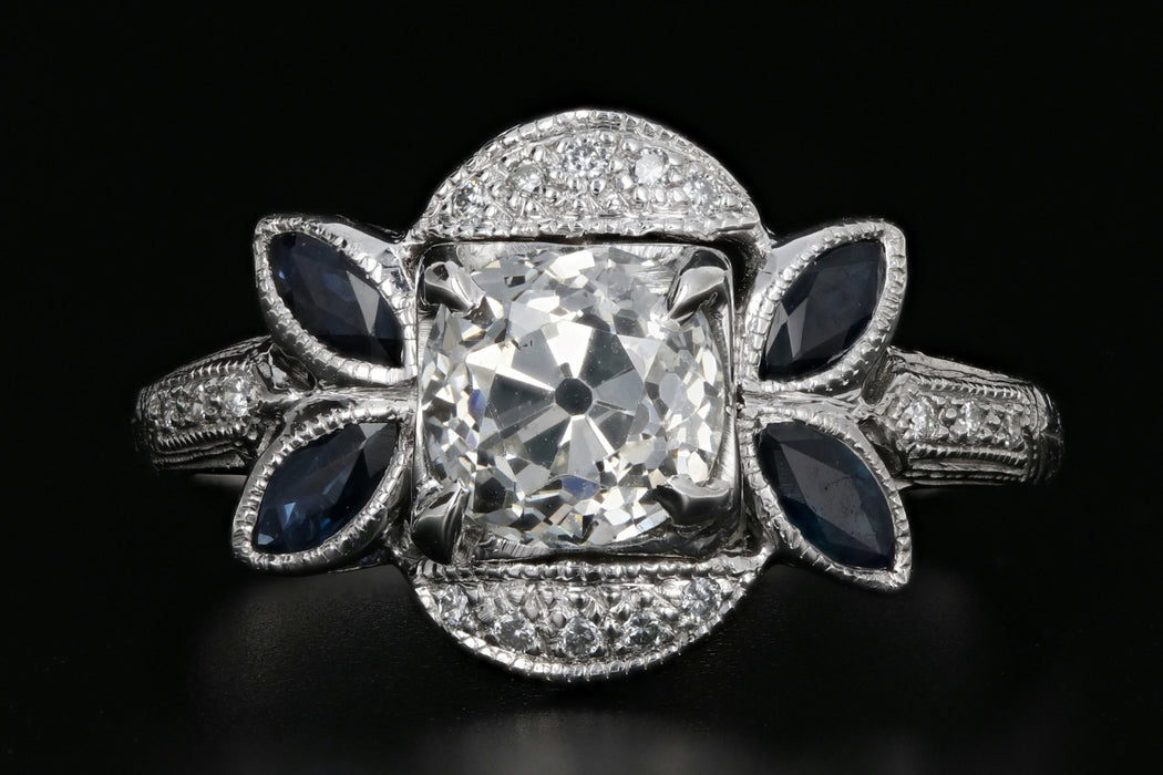 Art Deco 18K White Gold 1.16 Carat Old Mine Cut Diamond & Sapphire Ring GIA Certified - Queen May
