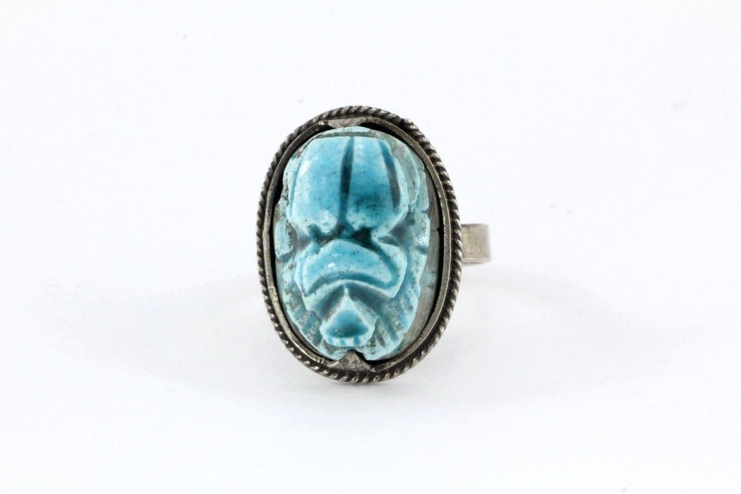 Vintage Hand Made Silver Blue Scarab Beetle Egyptian Ring - Queen May