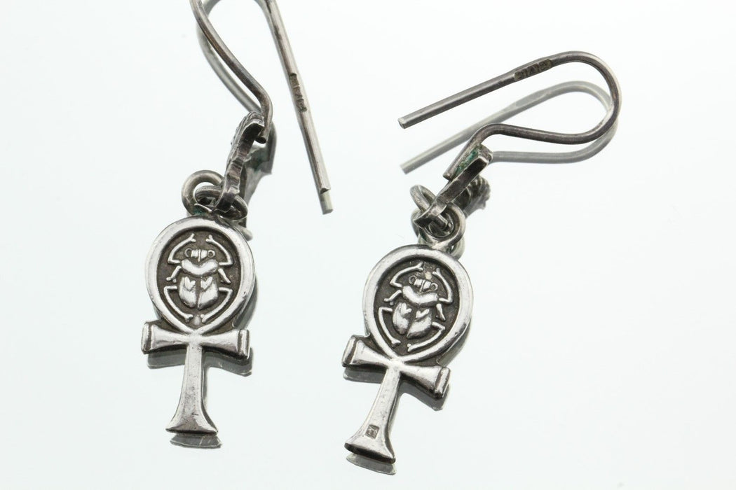 Antique Silver Egyptian Ankh Scarab Lotus Earrings Signed Dated 1946 - Queen May