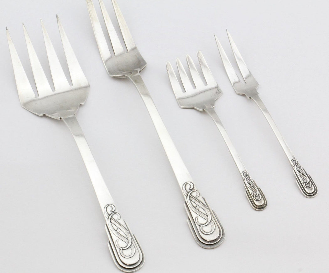 Antique Art Deco Jaume Mercade Queralt Solid .916 Silver Hand Made 196 Piece Flatware Set Serves 12 - Queen May