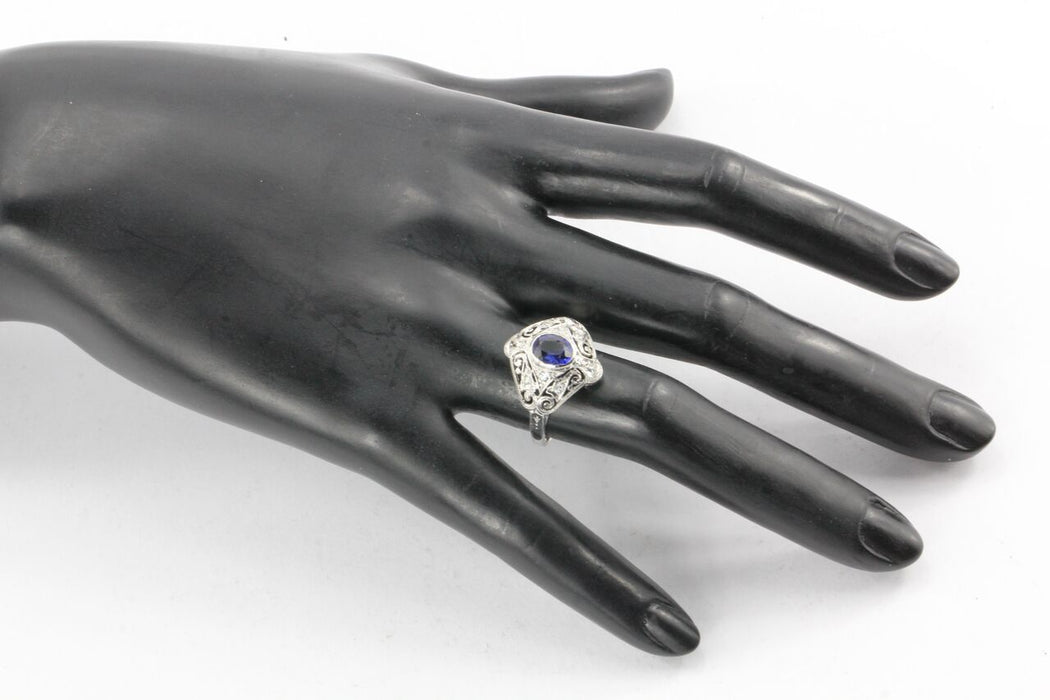 Art Deco 18K White Gold Filigree Sapphire and Diamond Ring - Queen May