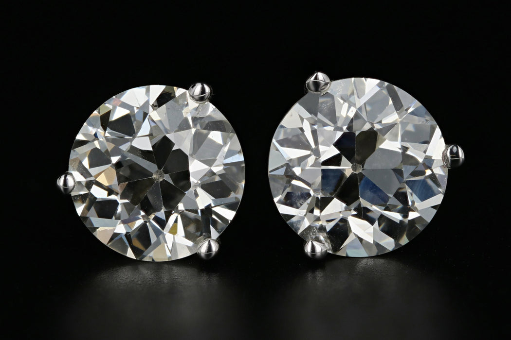 14K White Gold 3.83 Carat Total Weight Old European Cut Diamond Studs - Queen May