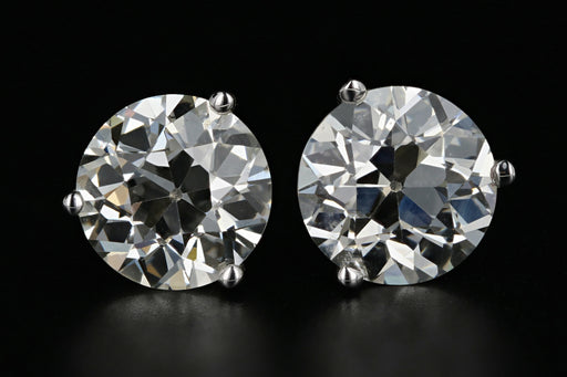 New 14K White Gold 3.83 Carat Total Weight Old European Cut Diamond Studs - Queen May