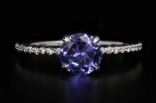 14K White Gold 1.35 Carat Tanzanite and Diamond Ring - Queen May