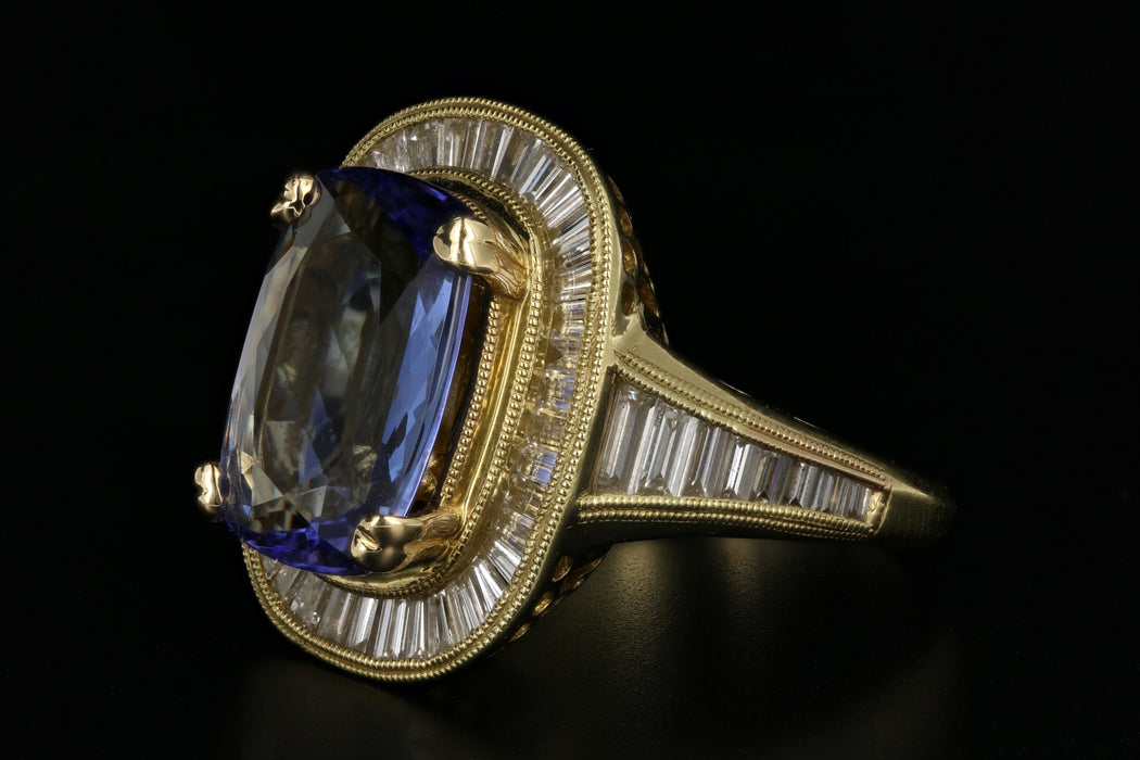 18K Yellow Gold 5.5 Carat Tanzanite & Diamond Ring - Queen May