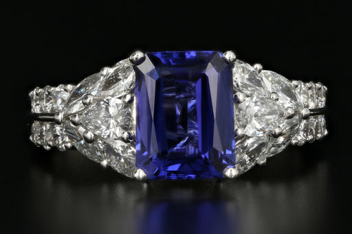 3.1 Carat Tanzanite and Diamond 18K White Gold Ring - Queen May