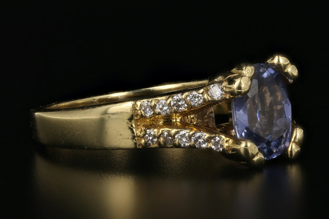 18K Yellow Gold 1.5 Carat Natural Ceylon Sapphire and Diamond Ring - Queen May