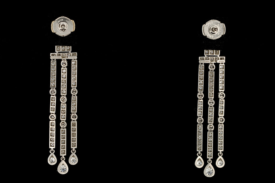 Tiffany & Co Jazz Triple-bar Diamond Drop Earrings in Platinum - Queen May