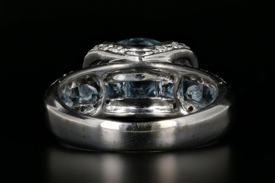18K White Gold 2 Carat Aquamarine Diamond Ring - Queen May