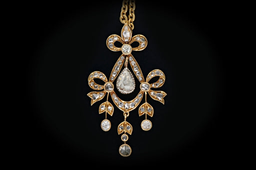 Early Victorian 18k Yellow Gold 1.25 Carat Diamond Pendant Necklace - Queen May