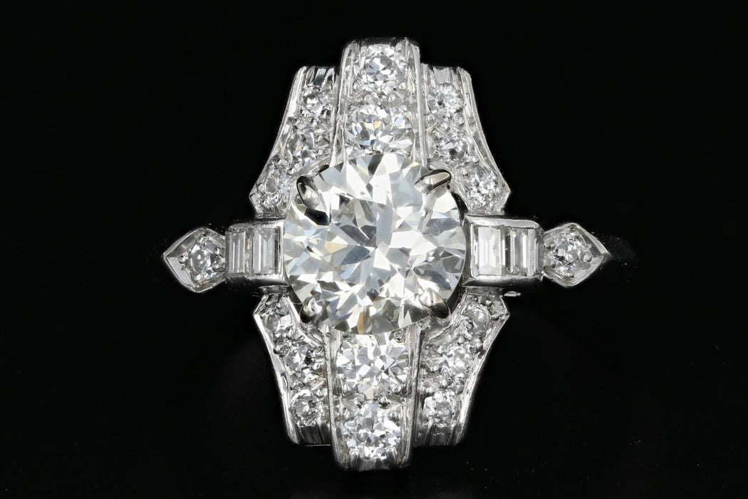 Art Deco 1.80 Carat Old European Cut Diamond Cocktail Ring - Queen May