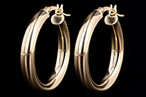 New 14K Gold Hoop Earrings 4 X 25mm