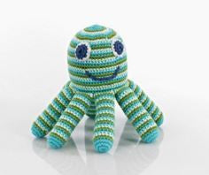 Pebble Octopus Rattle - Green - Organic Bliss
