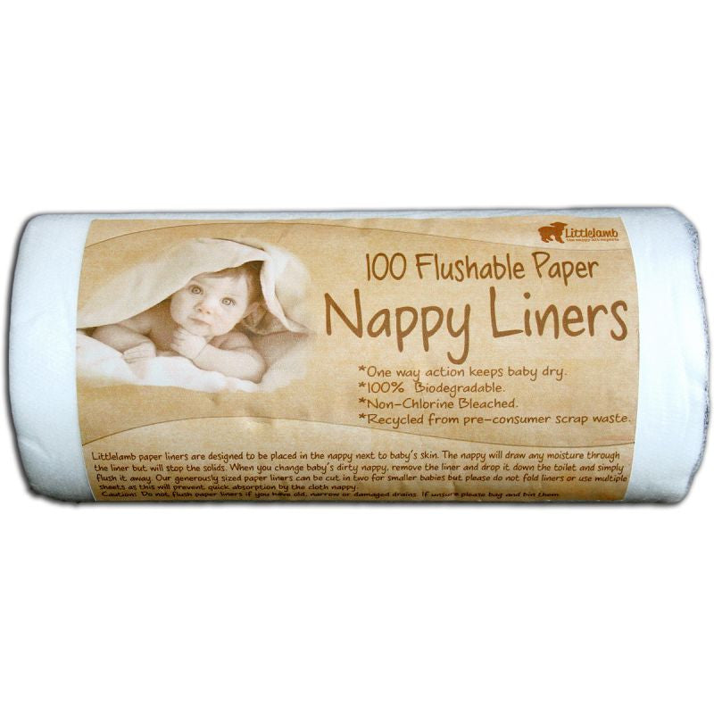 Little Lamb 100 Disposable Nappy Liners - Organic Bliss