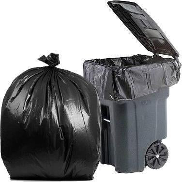 64 Gallon Garbage Bags: Black, 2 Mil, 50x60, 40 Bags/Case.