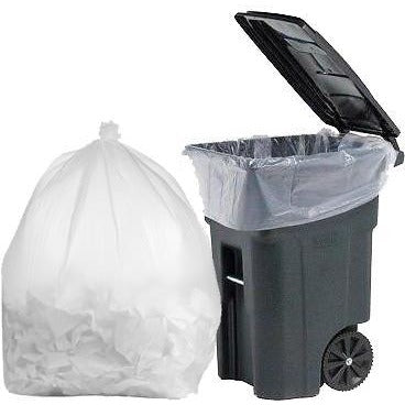 95 Gallon Garbage Bags: Clear, 2 Mil, 61x68, 25 Bags/Case.