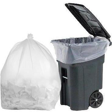 64 Gallon Garbage Bags: Clear, 1.5 Mil, 50x60, 50 Bags/Case.