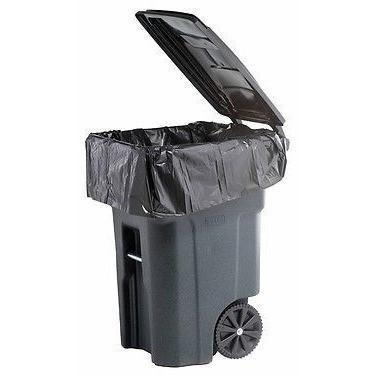 64 Gallon Garbage Bags: Black, 1.5 Mil, 50x60, 50 Bags/Case.