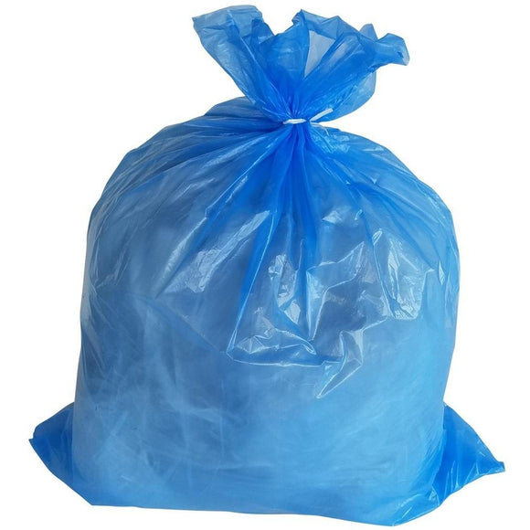 65 Gallon Garbage Bags: Blue, 1.5 Mil, 50X48, 100 Bags.
