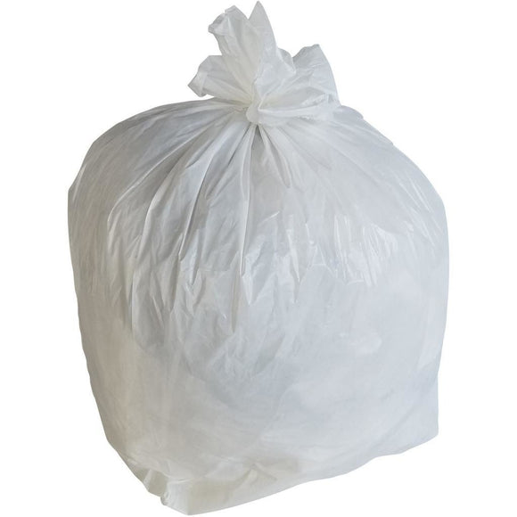 50-60 Gallon Garbage Bags: White, .7 Mil, 38x58, 100 Bags.
