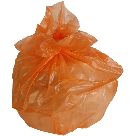 50-60 Gallon Garbage Bags: Orange, 1.5 Mil, 38x58, 100 Bags.