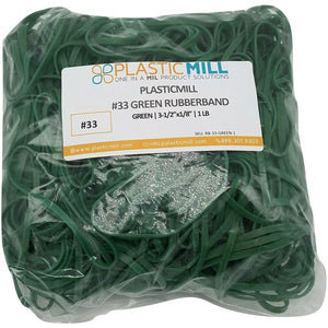 Rubber Bands #33: #33 Size, Green, 2LB/1000 Count.