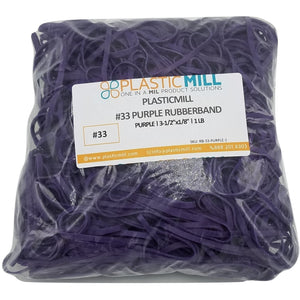 Rubber Bands #33: #33 Size, Purple, 1LB/500 Count.