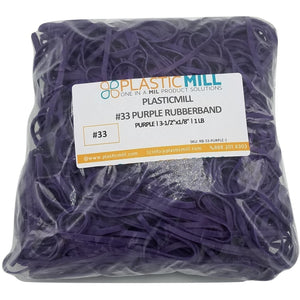Rubber Bands #33: #33 Size, Purple, 2LB/1000 Count.