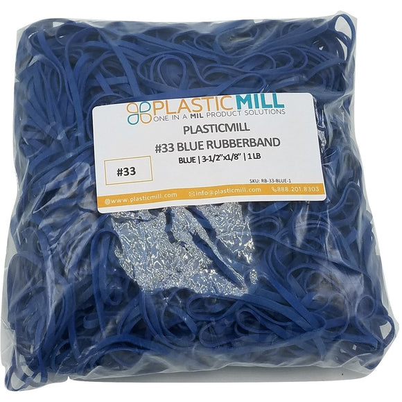 Rubber Bands #33: #33 Size, Blue, 1LB/500 Count.