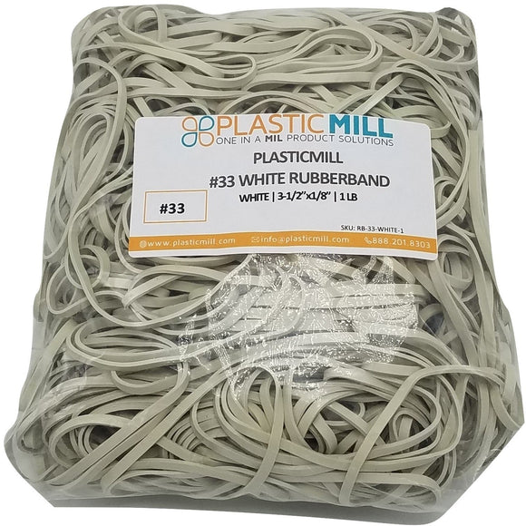Rubber Bands #33: #33 Size, White, 1LB/500 Count.