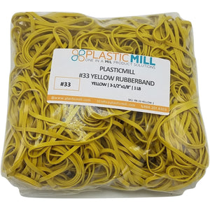Rubber Bands #33: #33 Size, Yellow, 1LB/500 Count.
