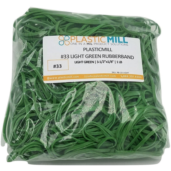 Rubber Bands #33: #33 Size, Light Green, 2LB/1000 Count.