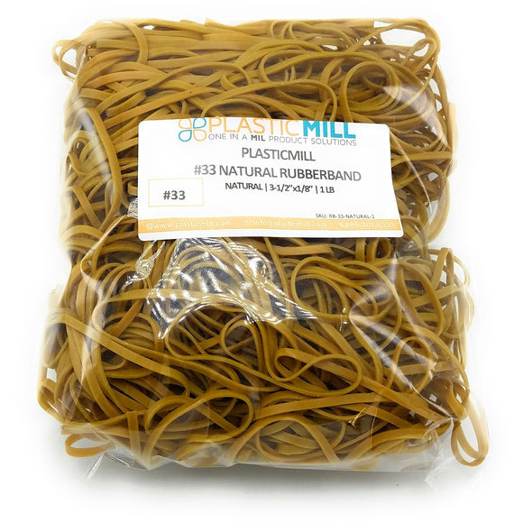 Rubber Bands #33: #33 Size, Natural, 2LB/1000 Count.