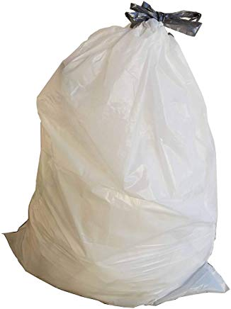 13 Gallon Garbage Bags, Drawstring: White, .9 MIL, 24x27, 200 Bags.