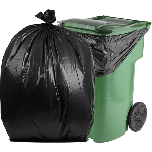 100 Gallon Garbage Bags: Black, 2 Mil, 67x79, 50 Bags/Case.