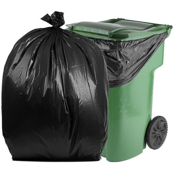 95 Gallon Garbage Bags: Black, 1.5 Mil,  61x68, 50 Bags/Case.