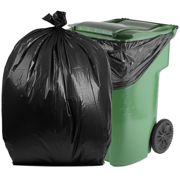 95 Gallon Garbage Bags: Black, 2 Mil, 61x68, 30 Bags/Case.