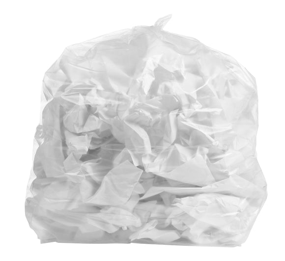 65 Gallon Garbage Bags: Clear, 1.5 Mil, 50X48, 50 Bags.