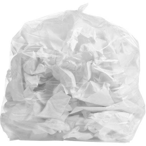 65 Gallon Garbage Bags: Clear, 2.7 Mil, 50X48, 50 Bags.