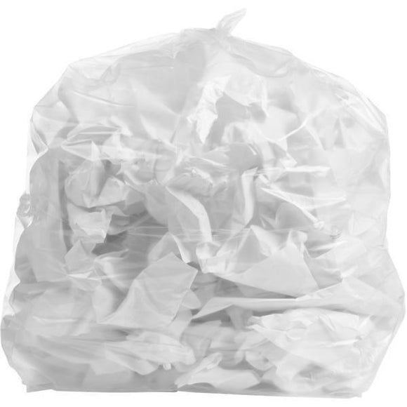 65 Gallon Garbage Bags: Clear, 2.7 Mil, 50X48, 25 Bags.